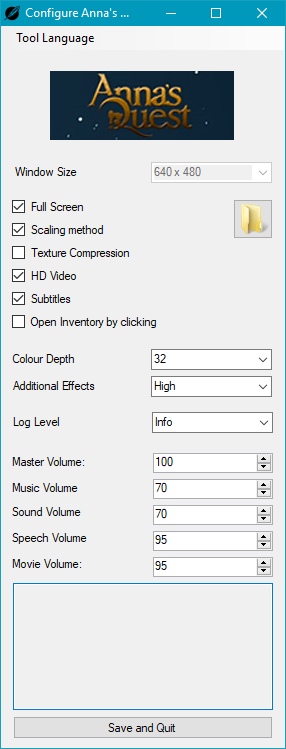Configuration dialog accessed through <path-to-game>\VisionaireConfigurationTool.exe.