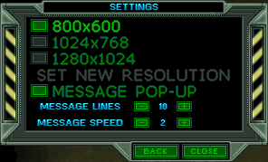 In-game screen resolution settings.