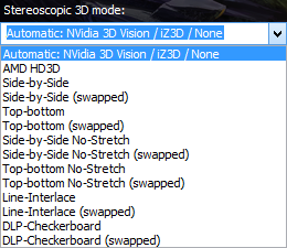 Stereoscopic 3D modes in launcher.