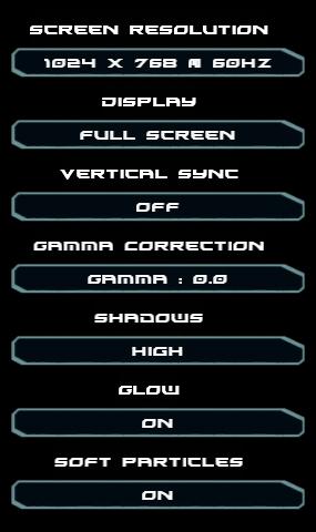 Video settings.